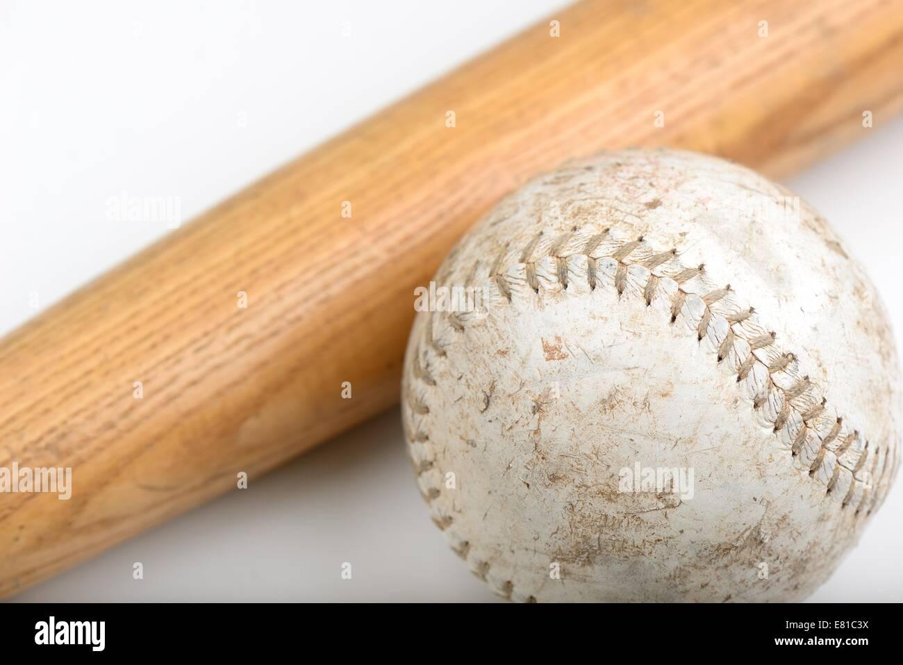Wooden baseball bat and softball - Stock Image