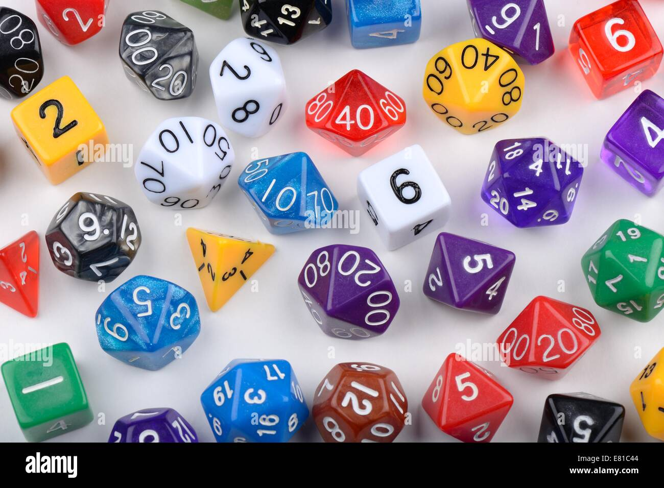 Random Number Generator Stock Photos Based Game All Shapes And Values Of Multi Sided Virtual Dice Image