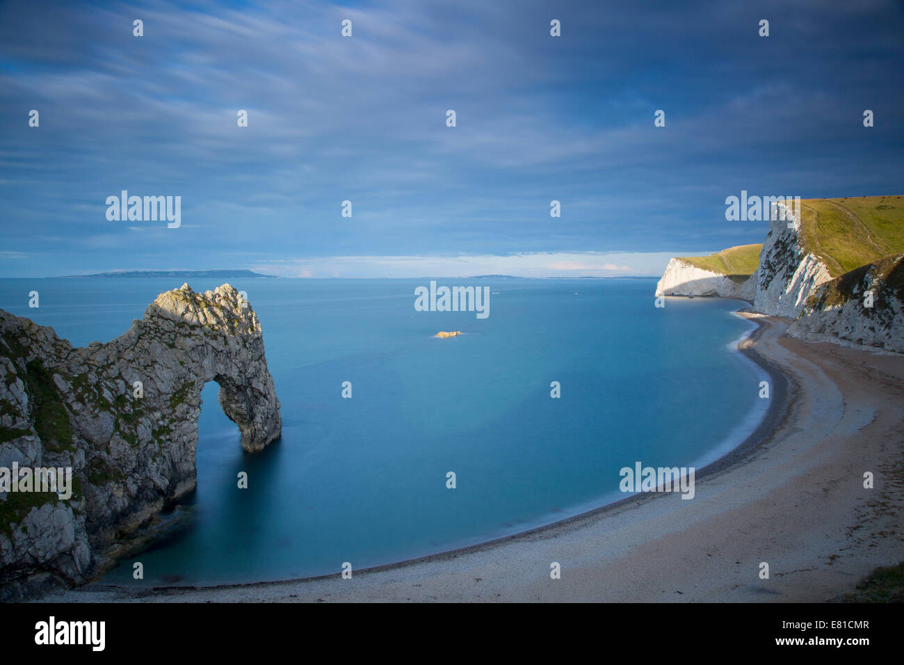 Sunrise over Durdle door and the Jurassic Coast, Dorset, England - Stock Image