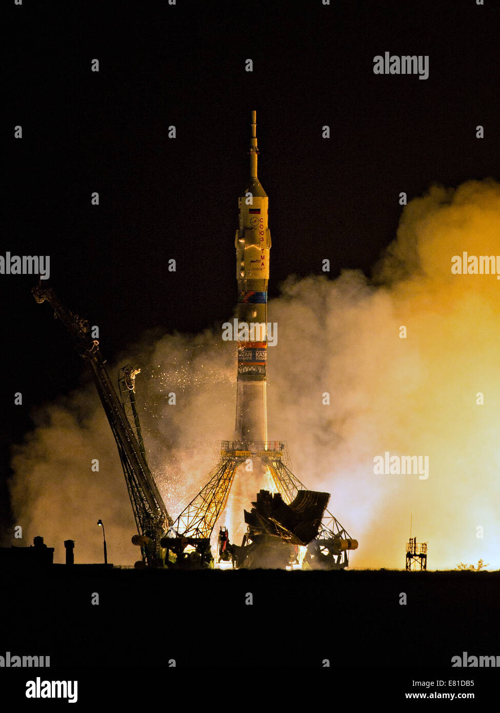 The Russian Soyuz TMA-14M rocket launches to the International Space Station carrying Expedition 41 crew September - Stock Image