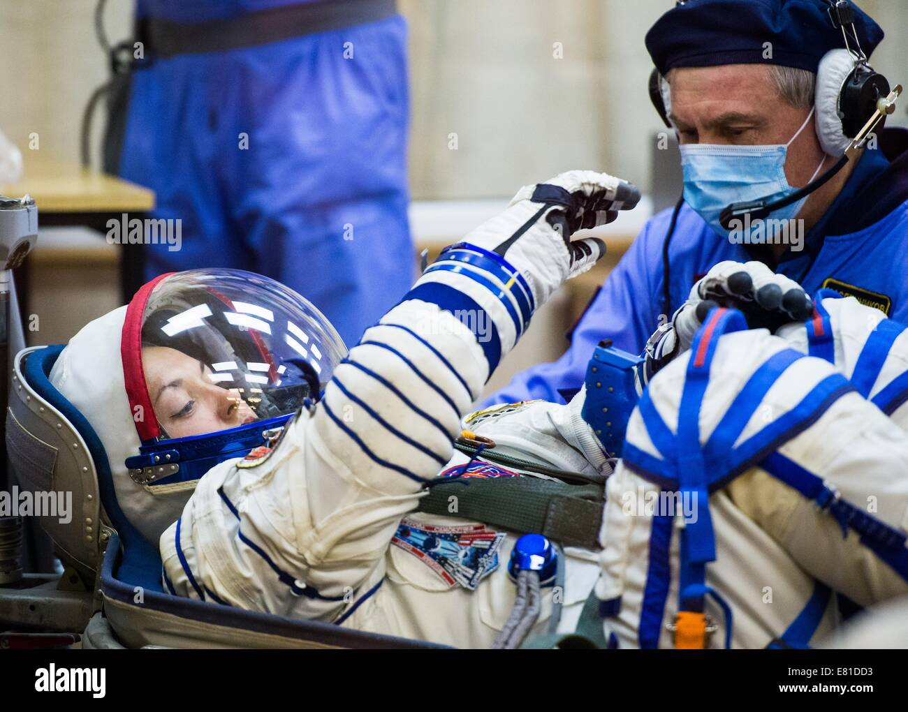 International Space Station Expedition 41 cosmonaut Elena Serova of the Russian Federal Space Agency has her Russian - Stock Image