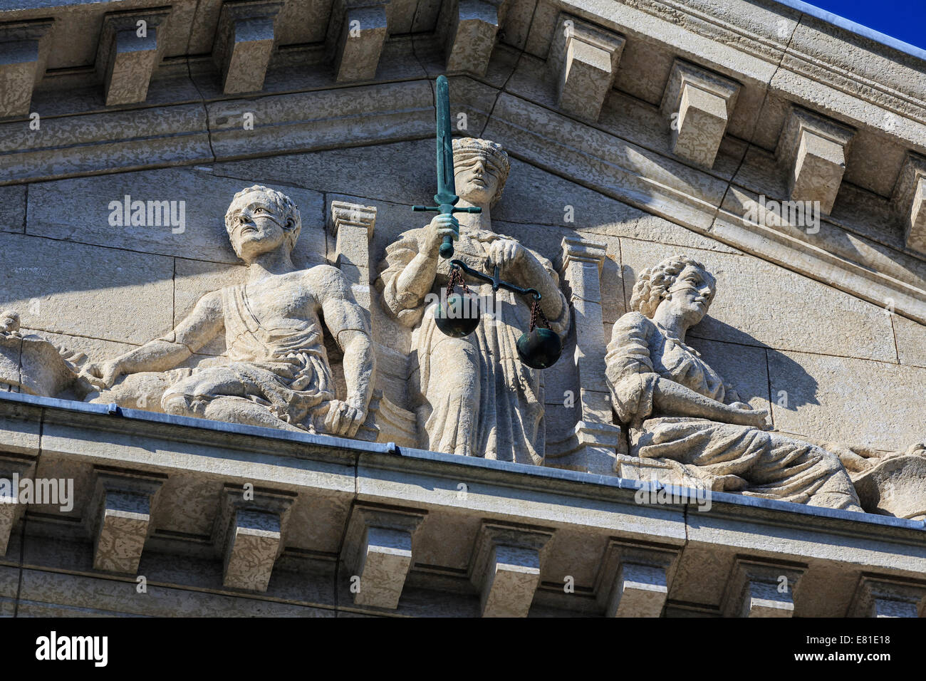 Scales of Justice carving on the Law Courts Building pediment, Winnipeg, Manitoba, Canada. Stock Photo