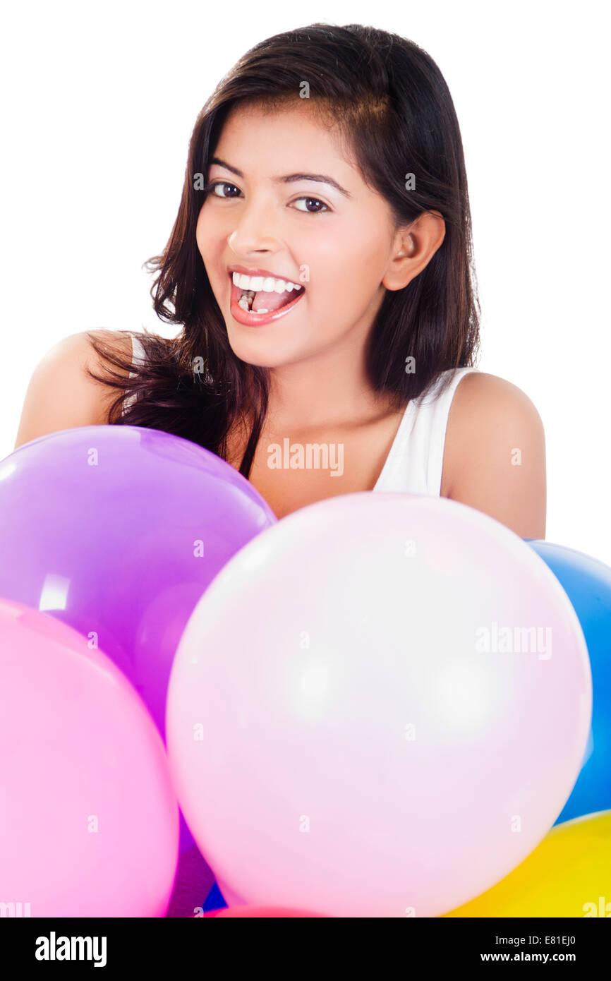 indian Girl Fun Balloon - Stock Image