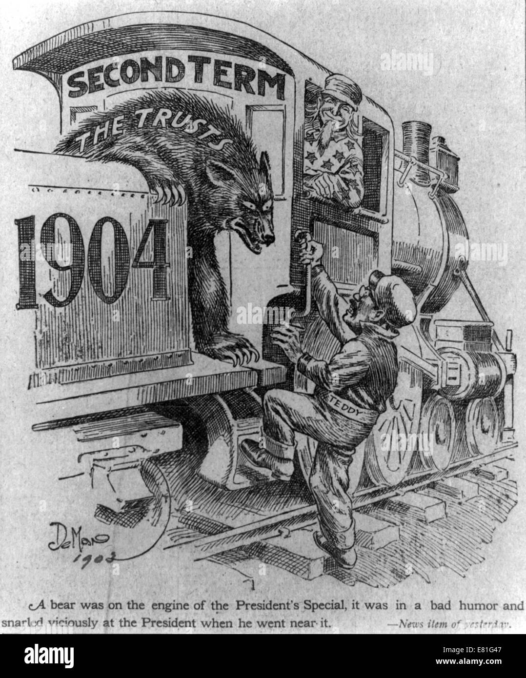 Political cartoon showing Theodore Roosevelt, dressed as a train's fireman, boarding a locomotive label 'second - Stock Image