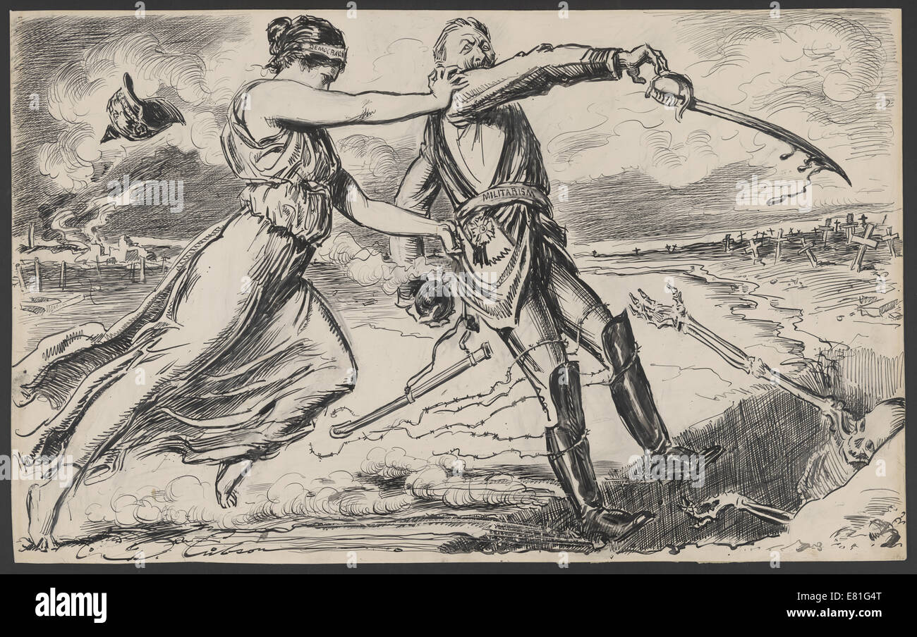 """Drawing shows female symbol of Democracy pushing a German soldier labeled """"Militarism"""" into a ditch. 1917 Stock Photo"""