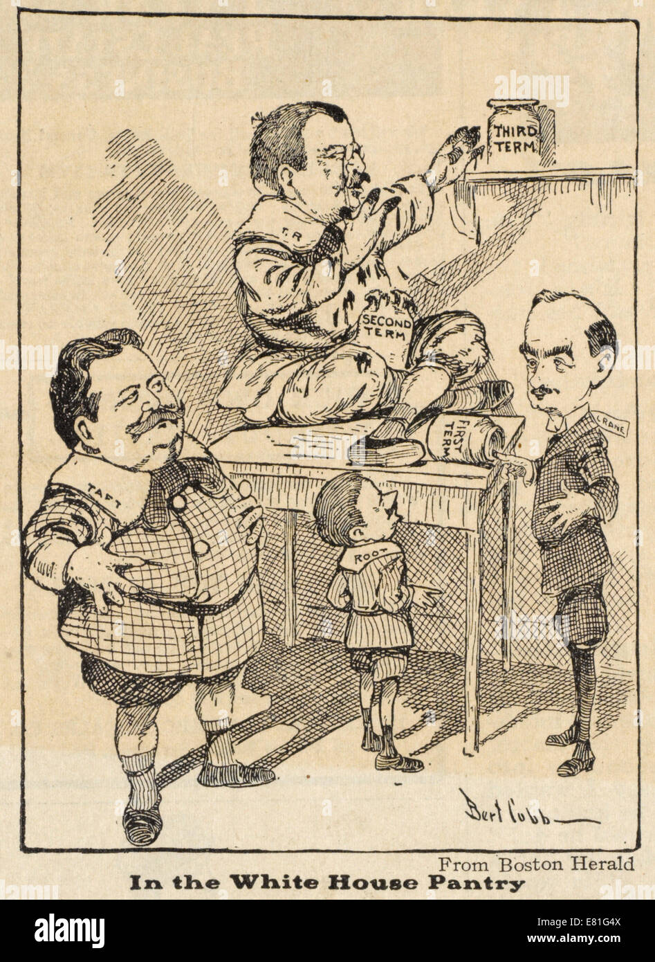 Political cartoon showing Theodore Roosevelt, dressed as a child, eating from a jam jar reading 'second term.: - Stock Image