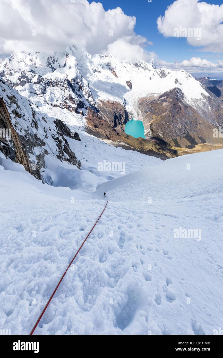 Rappelling from Alpamayo and Quitaraju Glacier Camp, Santa Cruz valley, Cordillera Blanca, Andes, Peru, South America - Stock Image
