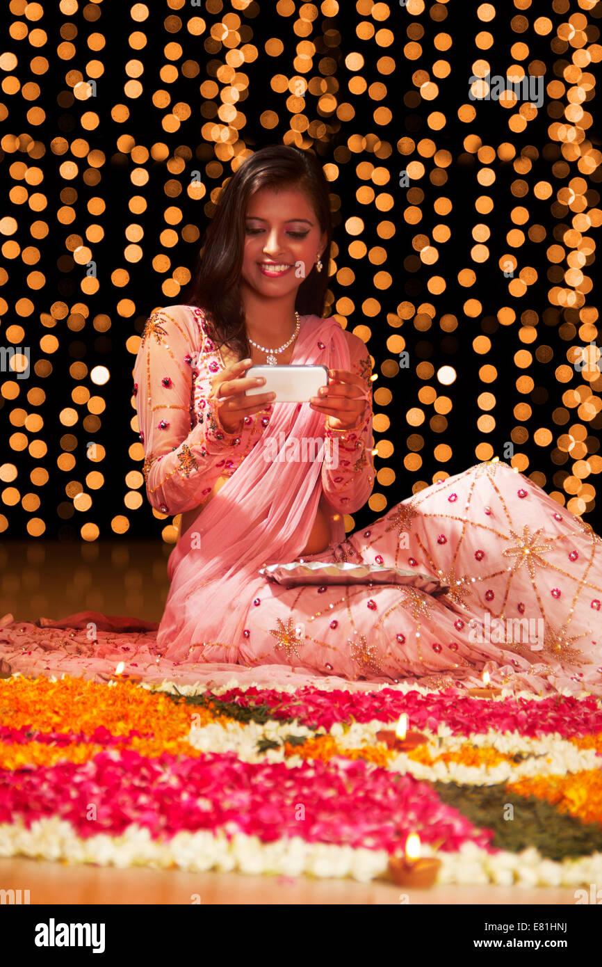 Indian Ladies Festival Diwali Rangoli Click Picture Stock