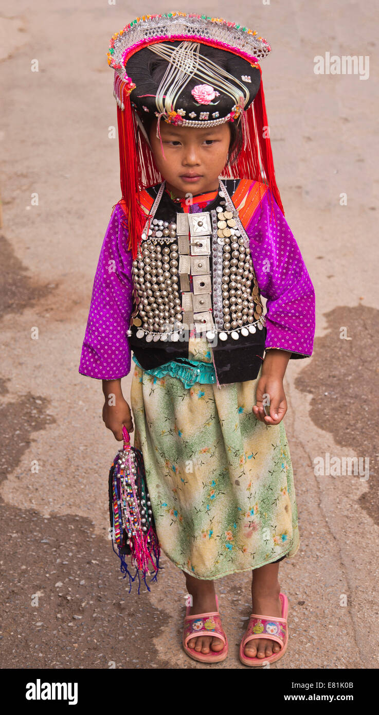 Girl of the Lisu ethnic group, one of the 55 officially recognized minorities of the People's Republic of China, - Stock Image