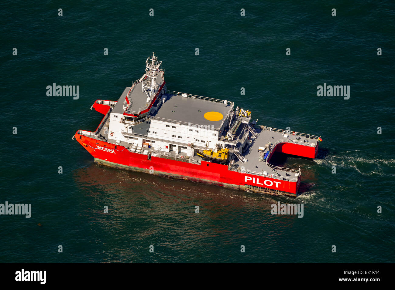 "Aerial view, ""Weser"" pilot boat, shipping line, shipping route, at sea, coastal waters, off Wangerooge, North Sea Stock Photo"