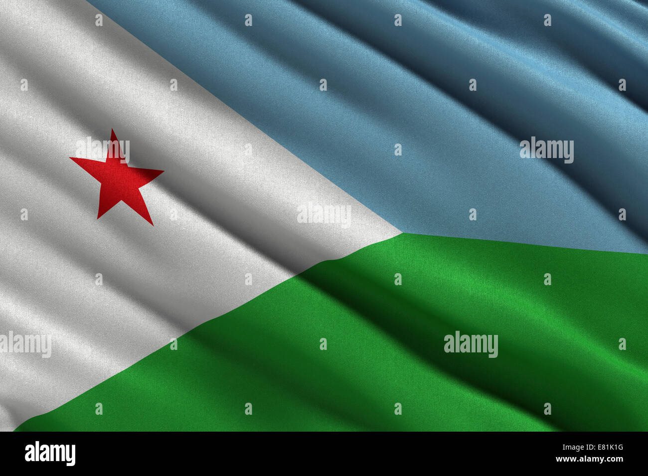 Flag of Djibouti waving in the wind - Stock Image