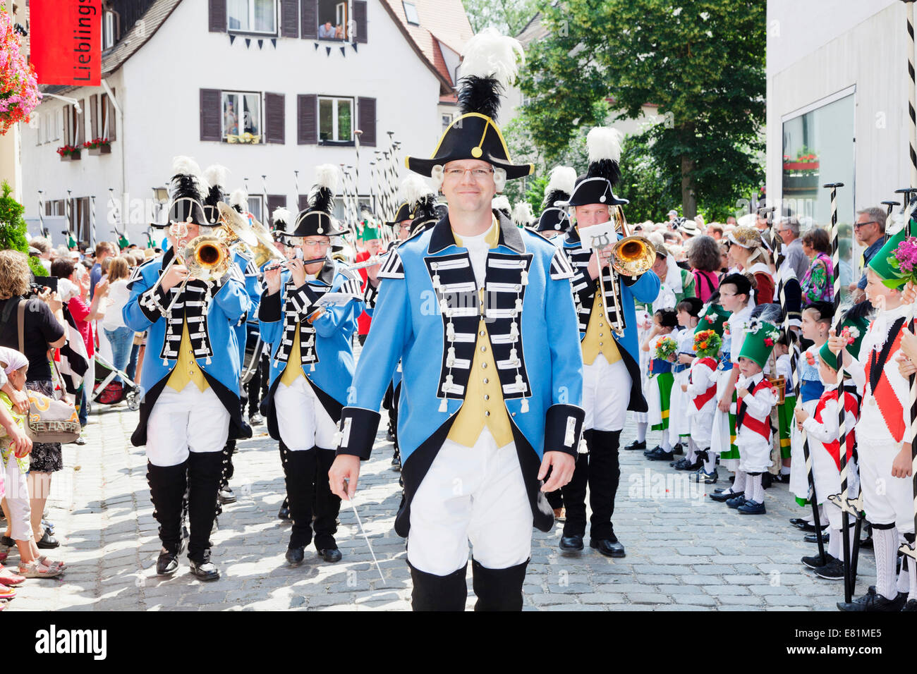 Musicians of the Ulm town soldiers, Fischerstechen or water jousting festival, Ulm, Baden-Württemberg, Germany - Stock Image