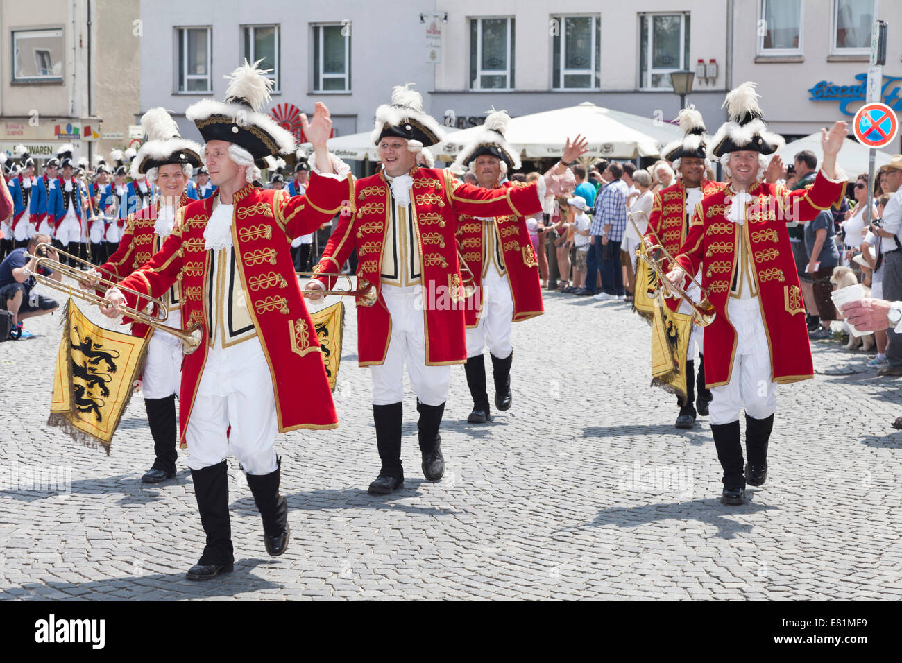Ulm town soldiers during a parade through the historic town centre, Fischerstechen or water jousting festival, Ulm - Stock Image