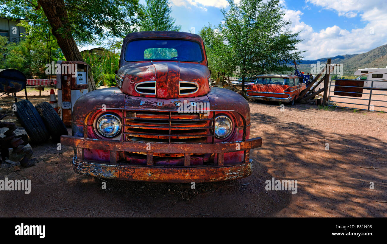 Vintage Red Ford Pickup Truck Stock Photos 1941 F1 Old Rusty Route 66 Hackberry General Store Arizona