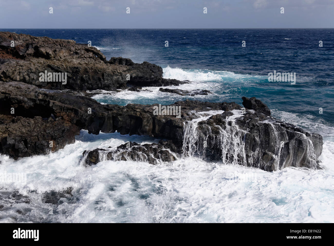 Coast marked by volcanic activity at Playa de las Cabras near Fuencaliente, La Palma, Canary Islands, Spain - Stock Image