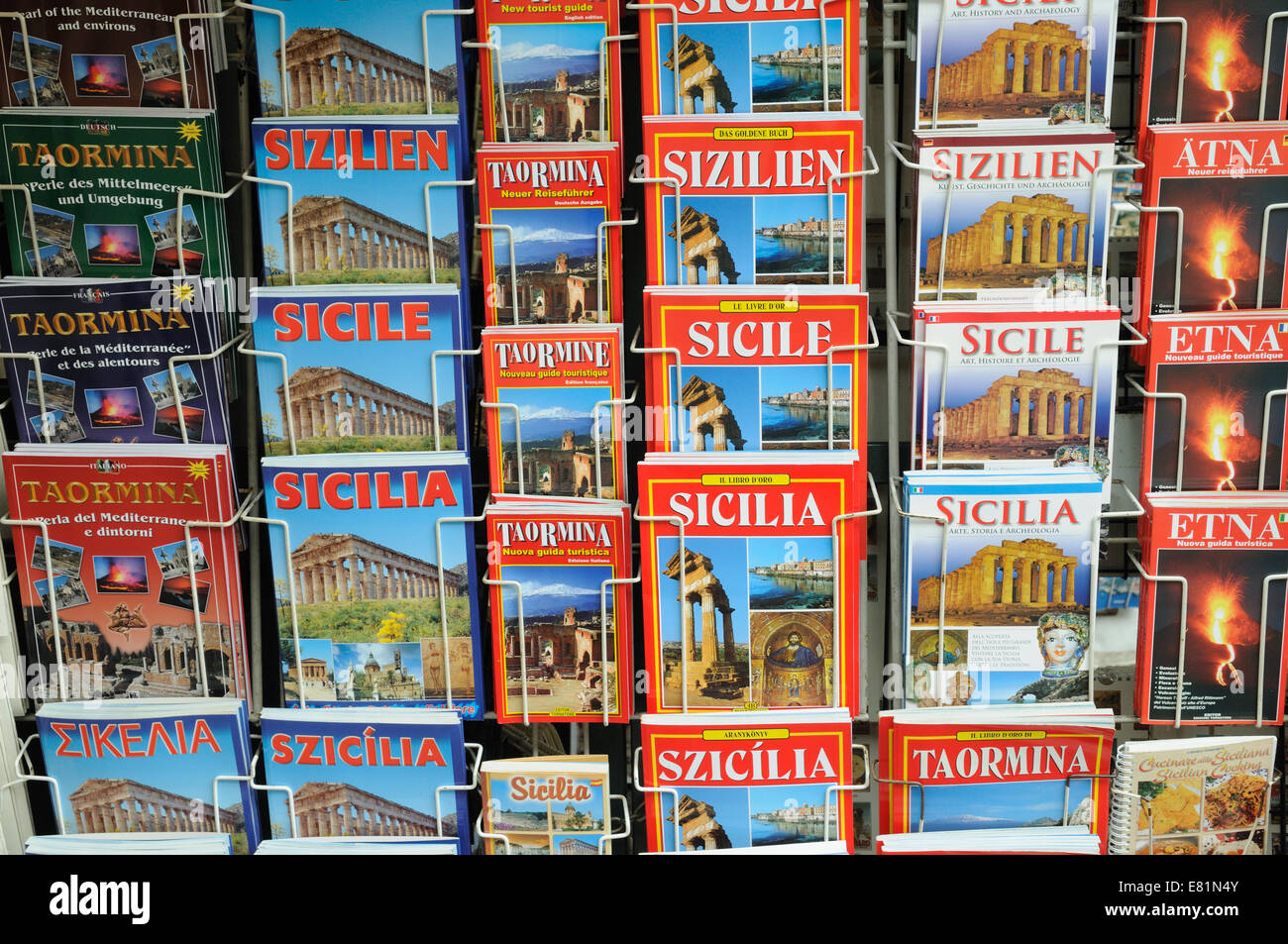 Guide books of Sicily and Taormina on sale at Taormina town Sicily Italy - Stock Image