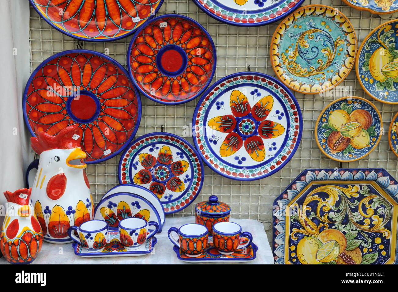 Typical brightly painted Sicilian pottery outside a gallery Taormina Sicily italy - Stock Image