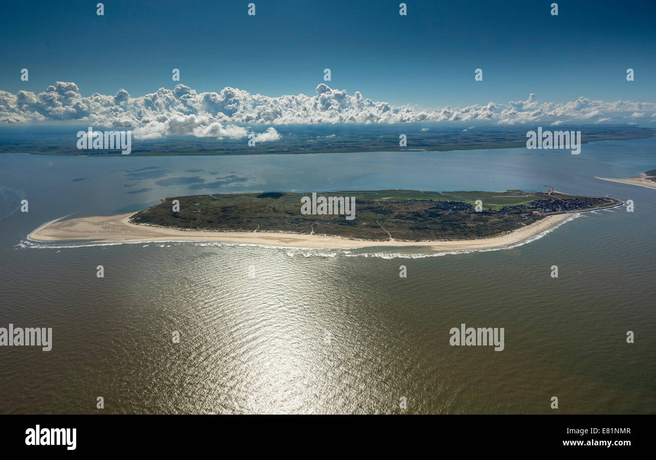 Aerial view, Baltrum, island in the North Sea, East Frisian Islands, Lower Saxony, Germany Stock Photo