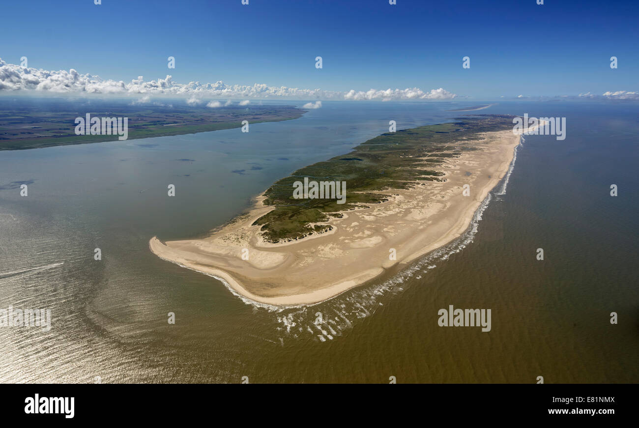 Aerial view, Rattendüne dune, eastern landmark, Wadden Sea, Norderney, island in the North Sea, East Frisian Islands Stock Photo
