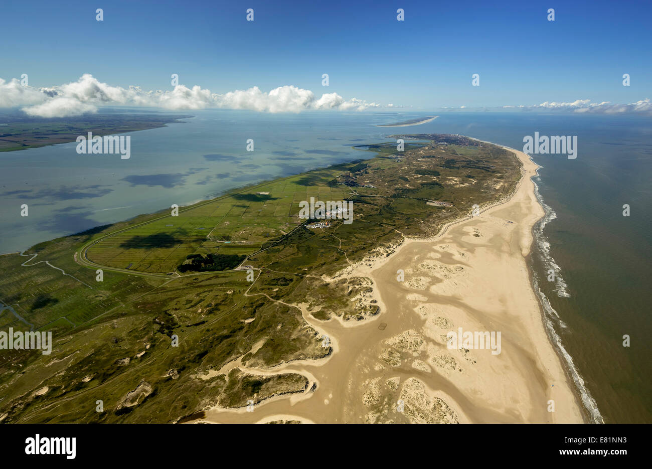 Aerial view, Northern beach, Wadden Sea, Norderney, island in the North Sea, East Frisian Islands, Lower Saxony, Stock Photo