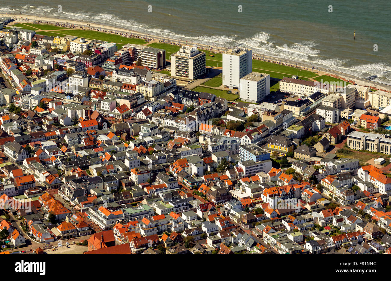 Aerial view, Norderney, island in the North Sea, East Frisian Islands, Lower Saxony, Germany Stock Photo