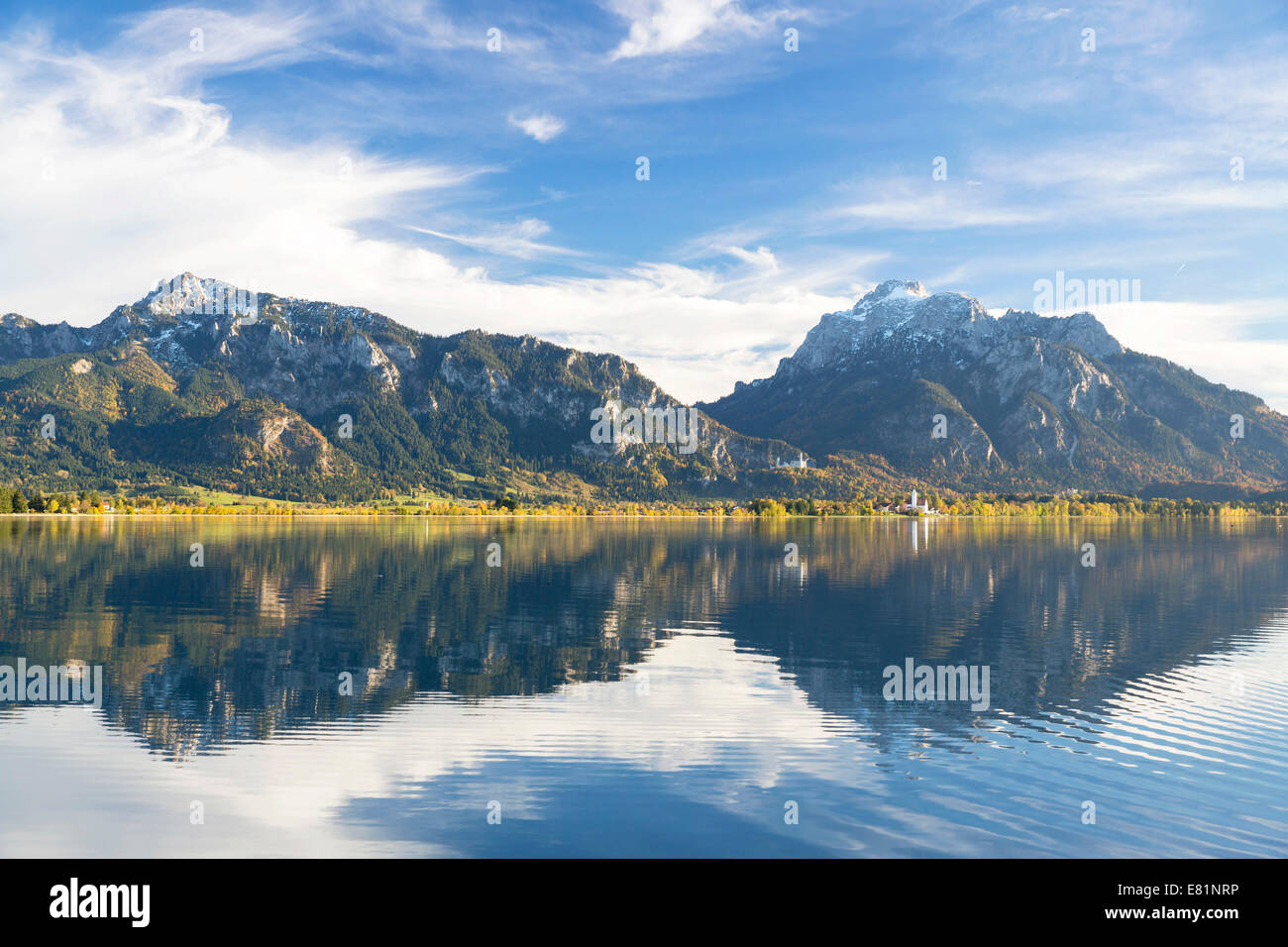 Autumn mood with mountain views on Forggensee lake near Füssen, East Allgäu, Bavaria, Germany Stock Photo