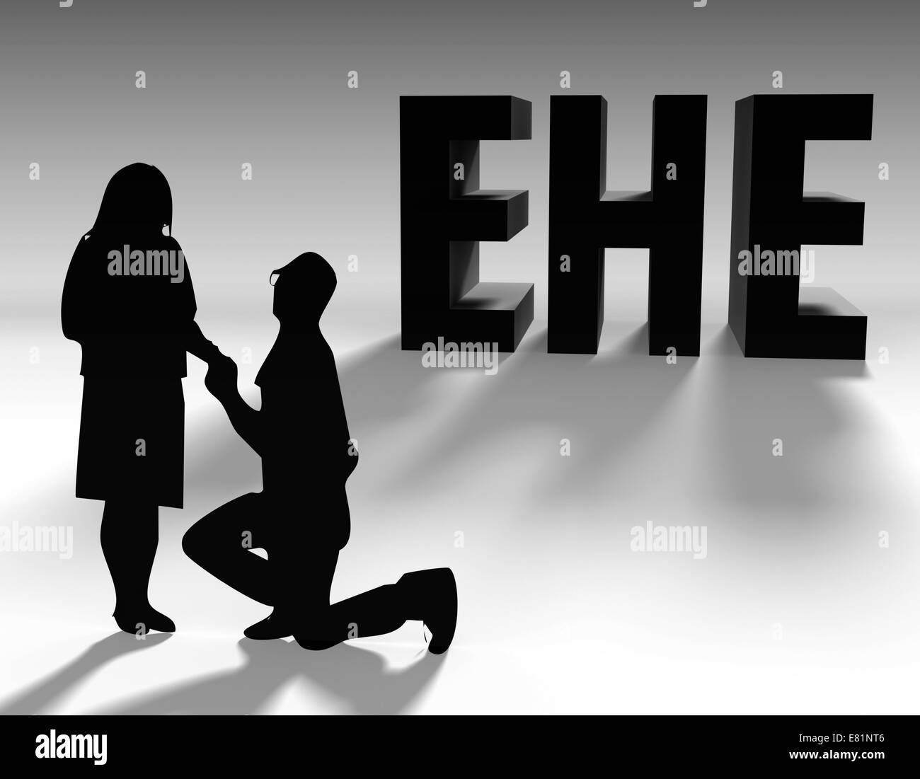 Man proposing to a woman, marriage proposal, lettering 'Ehe', German for 'marriage', illustration - Stock Image