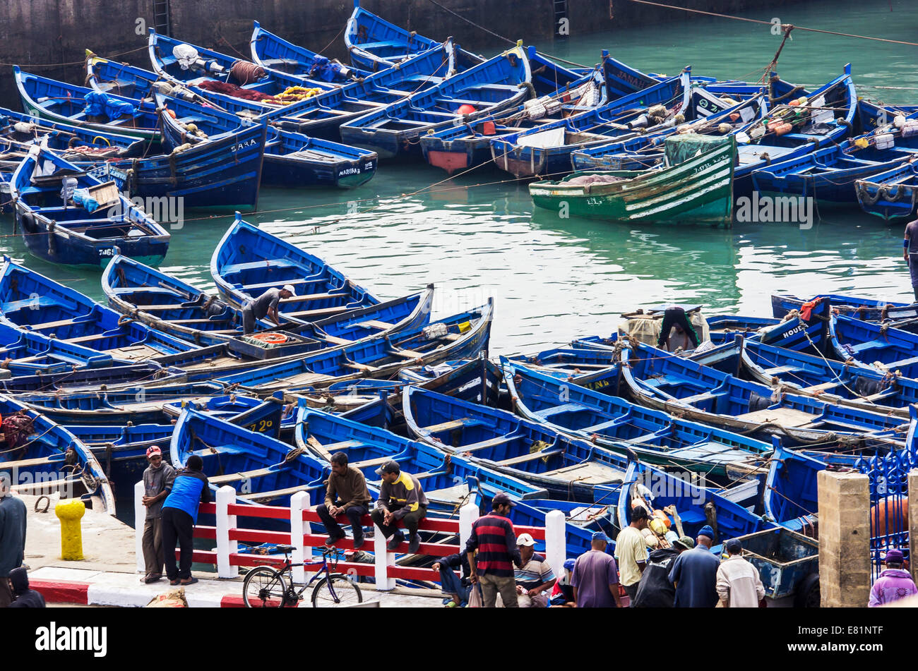 Harbour with fishing boats, Essaouira, Marrakech-Tensift-El Haouz, Morocco - Stock Image