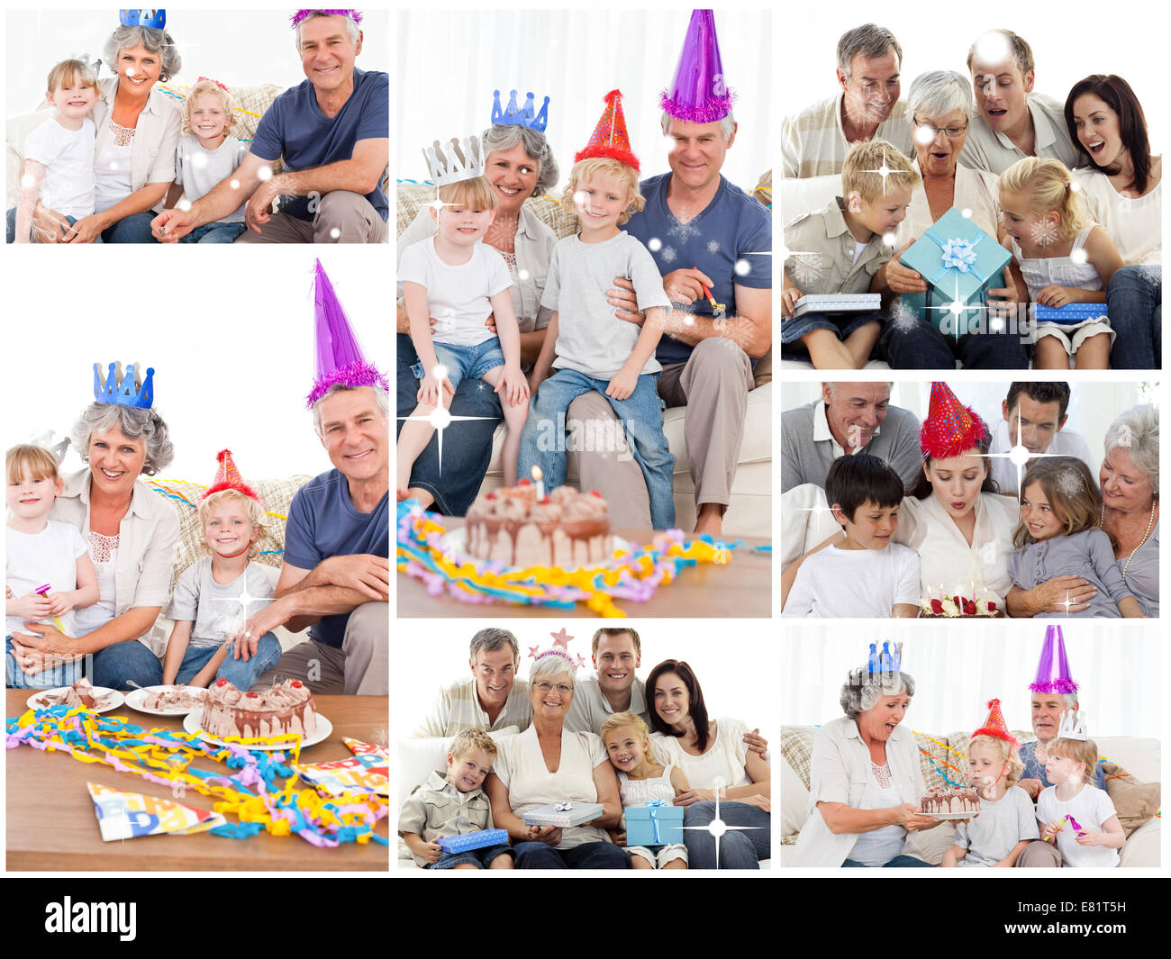 Collage of families enjoying celebration moments together at home Stock Photo