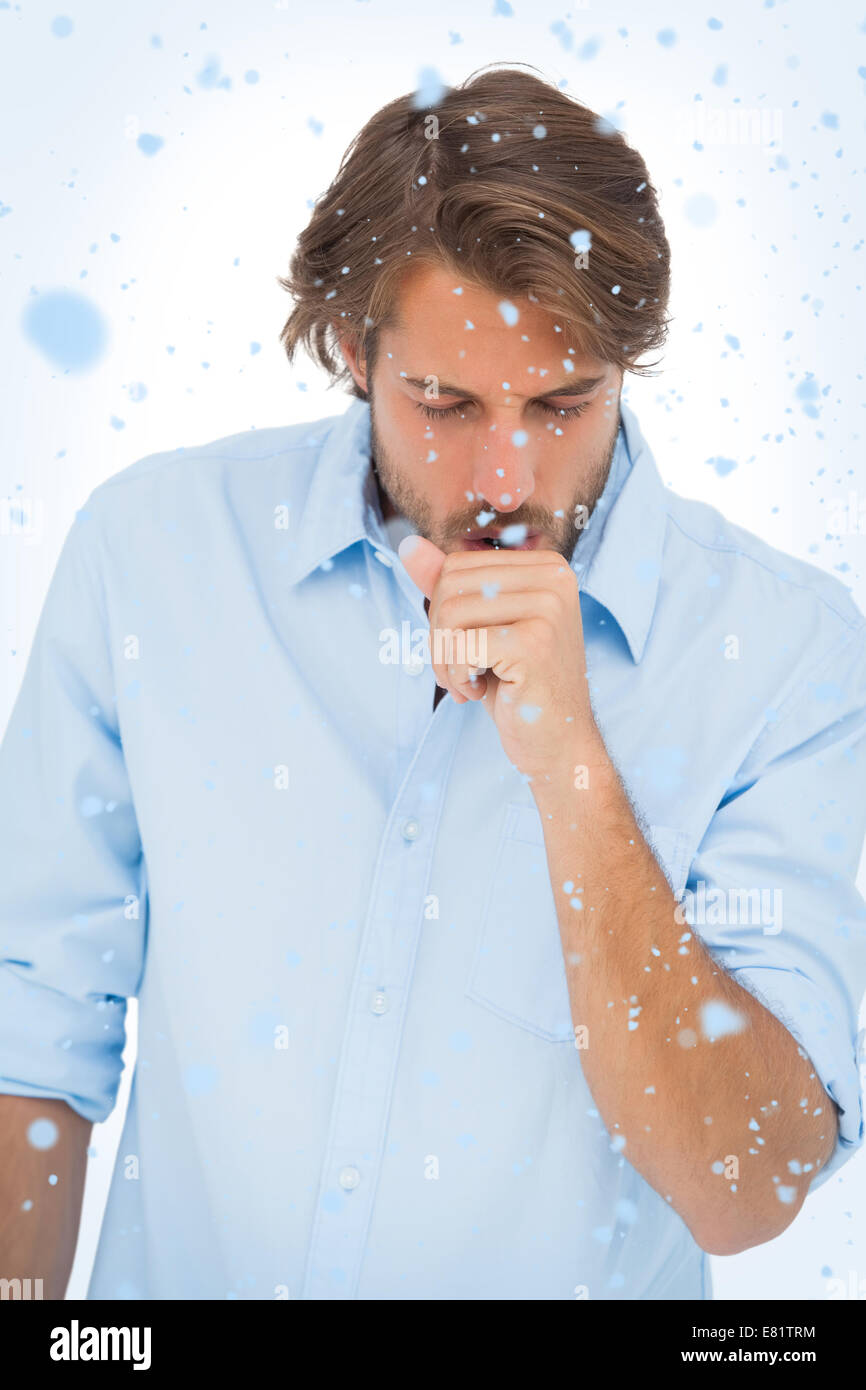 Composite image of tanned man coughing - Stock Image