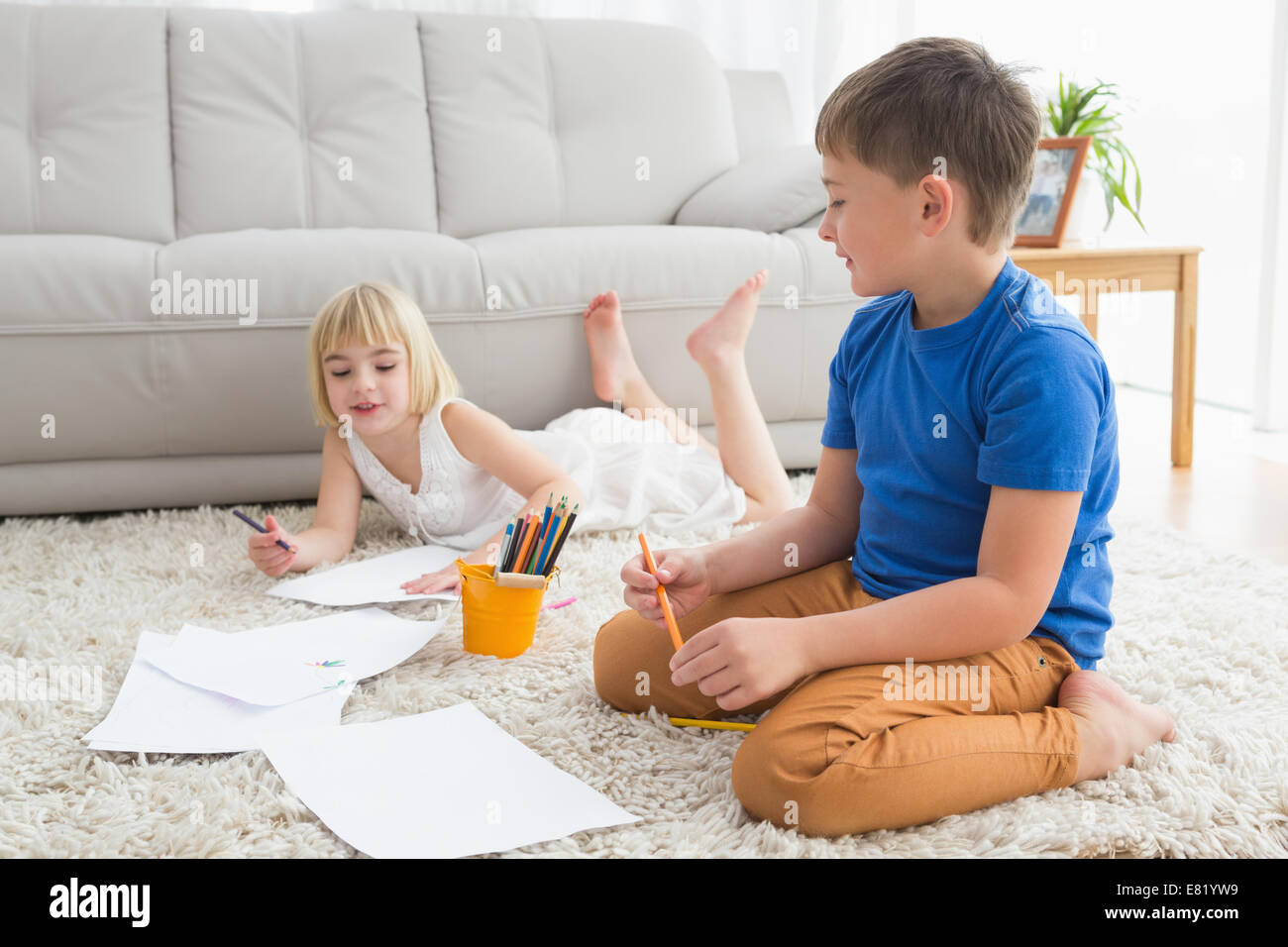 Brother Sister Drawing House Stock Photos Brother Sister