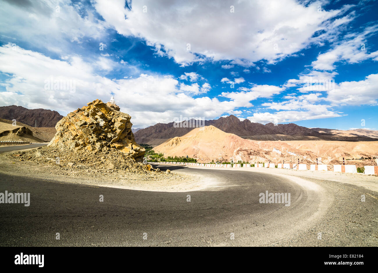 On the road in the remote Indus valley in Ladakh in north India. - Stock Image