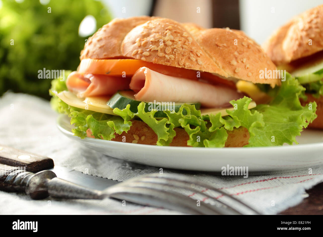 Sandwich with fresh lettuce, tomato, ham and cheese - Stock Image