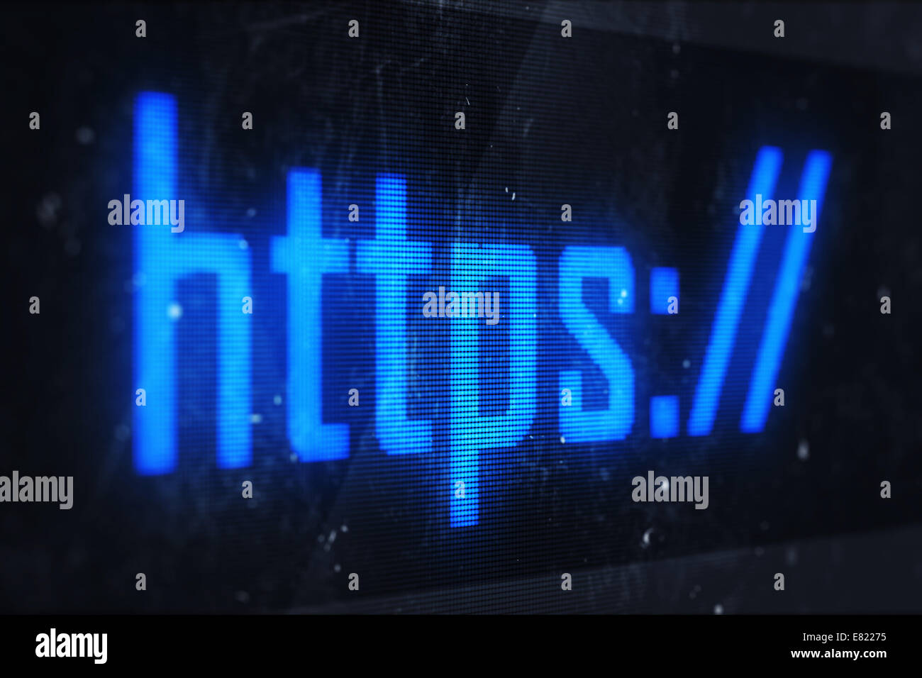 HTTPS concept. Business, technology, internet and networking concept - HTTPS text on virtual screens - Stock Image