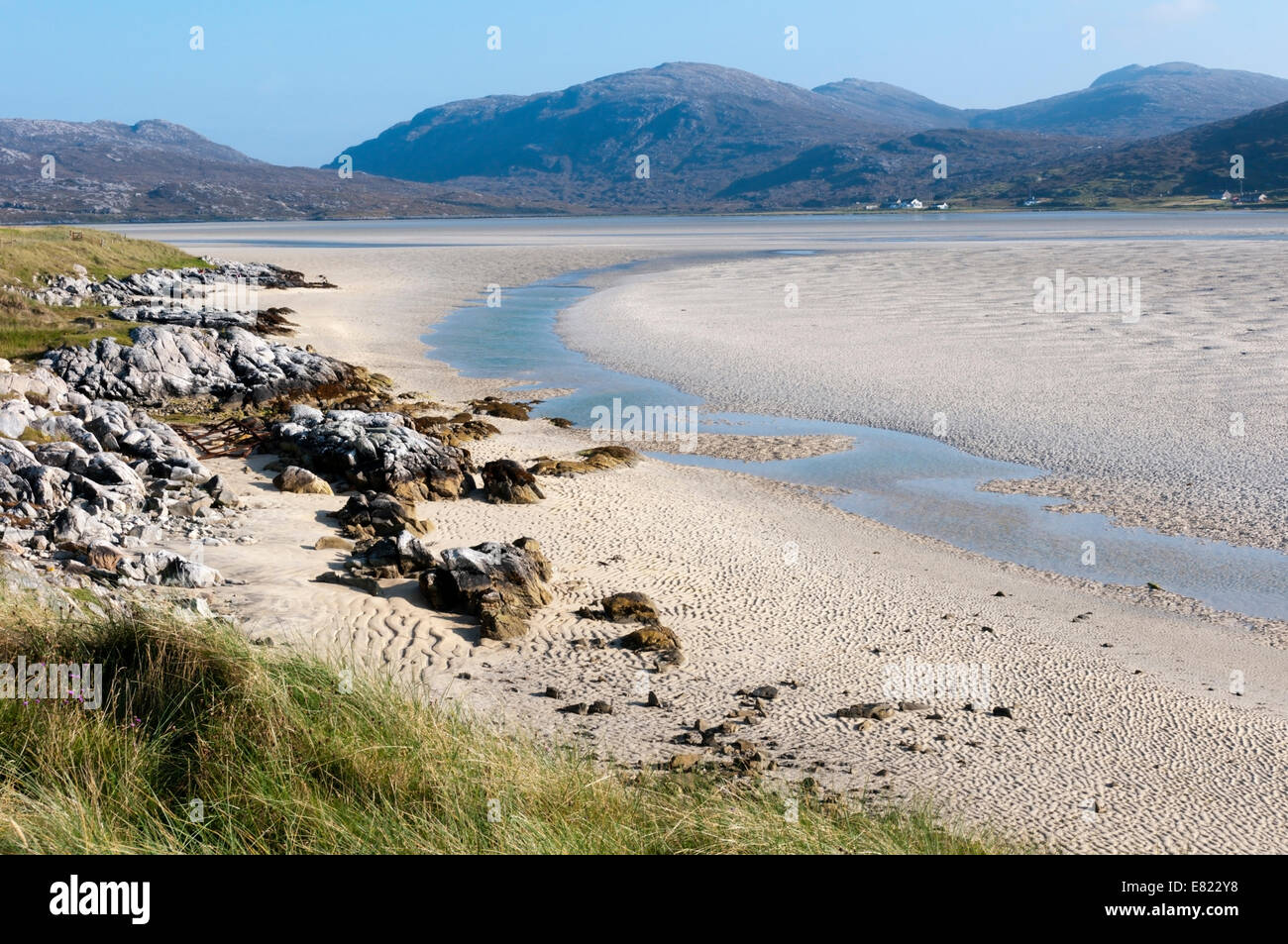 Luskentyre Beach on the west coast of the Isle of Harris. Stock Photo