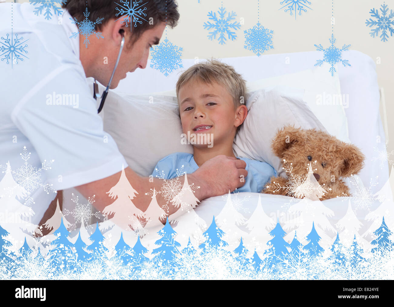 Doctor listening to a child breaht with stethoscope - Stock Image