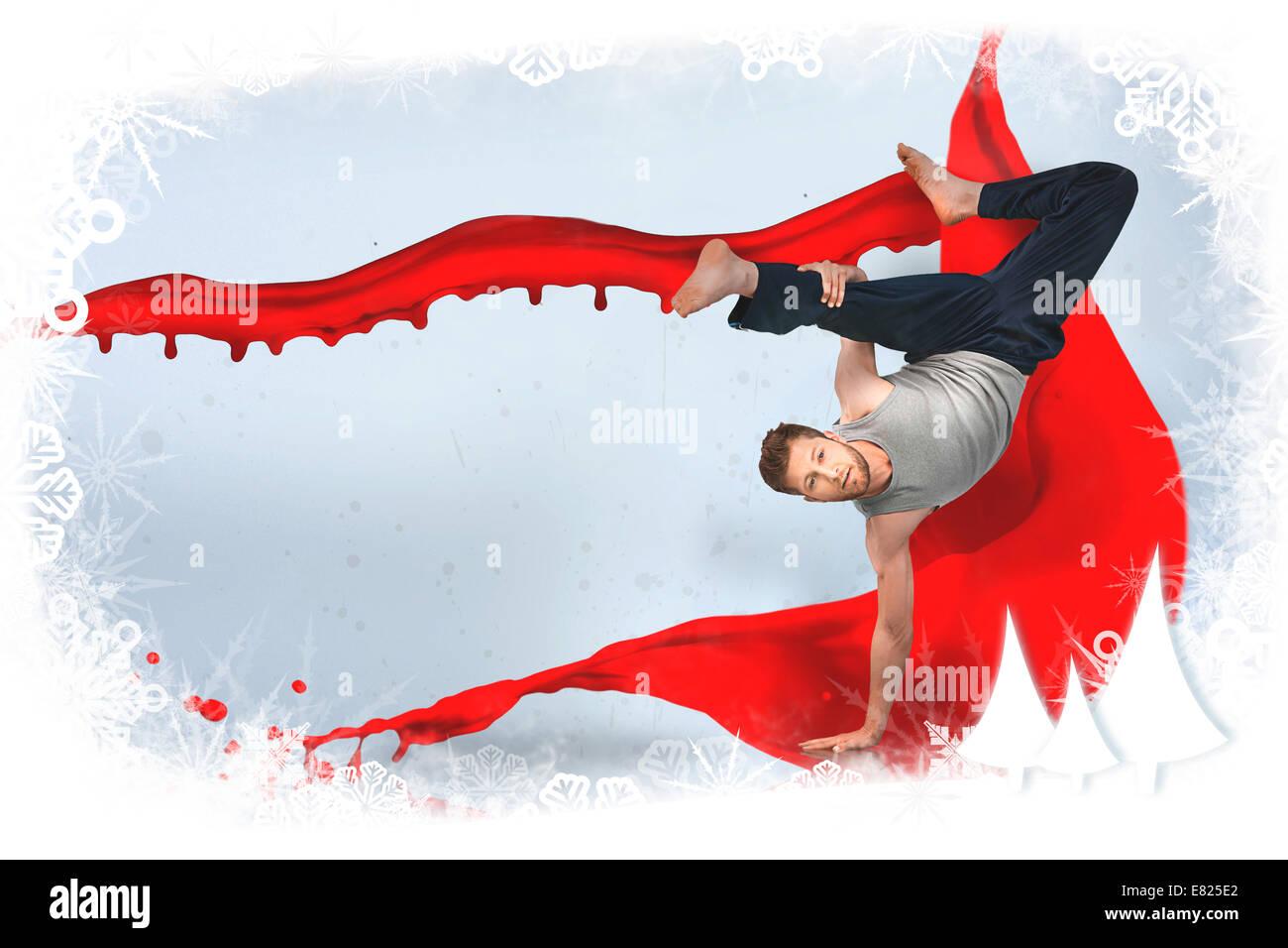 Break dancer doing a handstand - Stock Image
