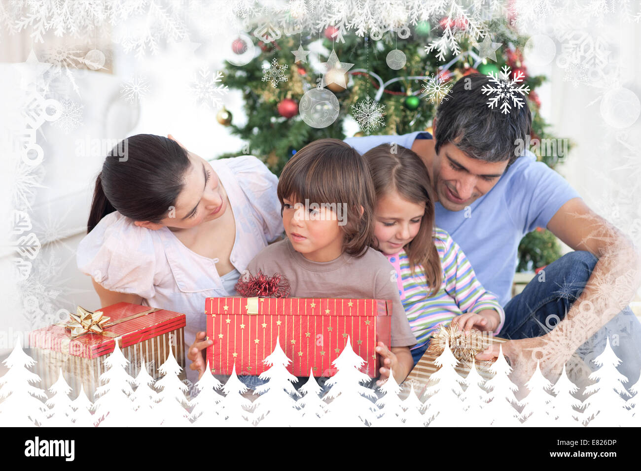 Composite image of family christmas portrait - Stock Image