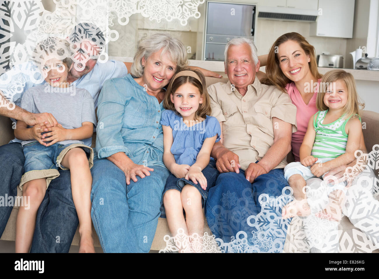 Composite image of family spending leisure time - Stock Image
