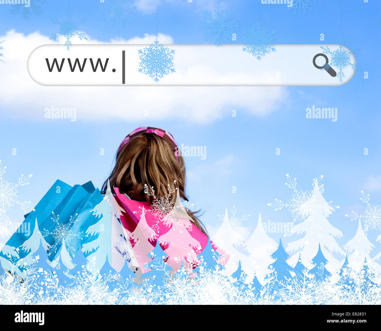 Girl holding shopping bags with address bar above - Stock Image