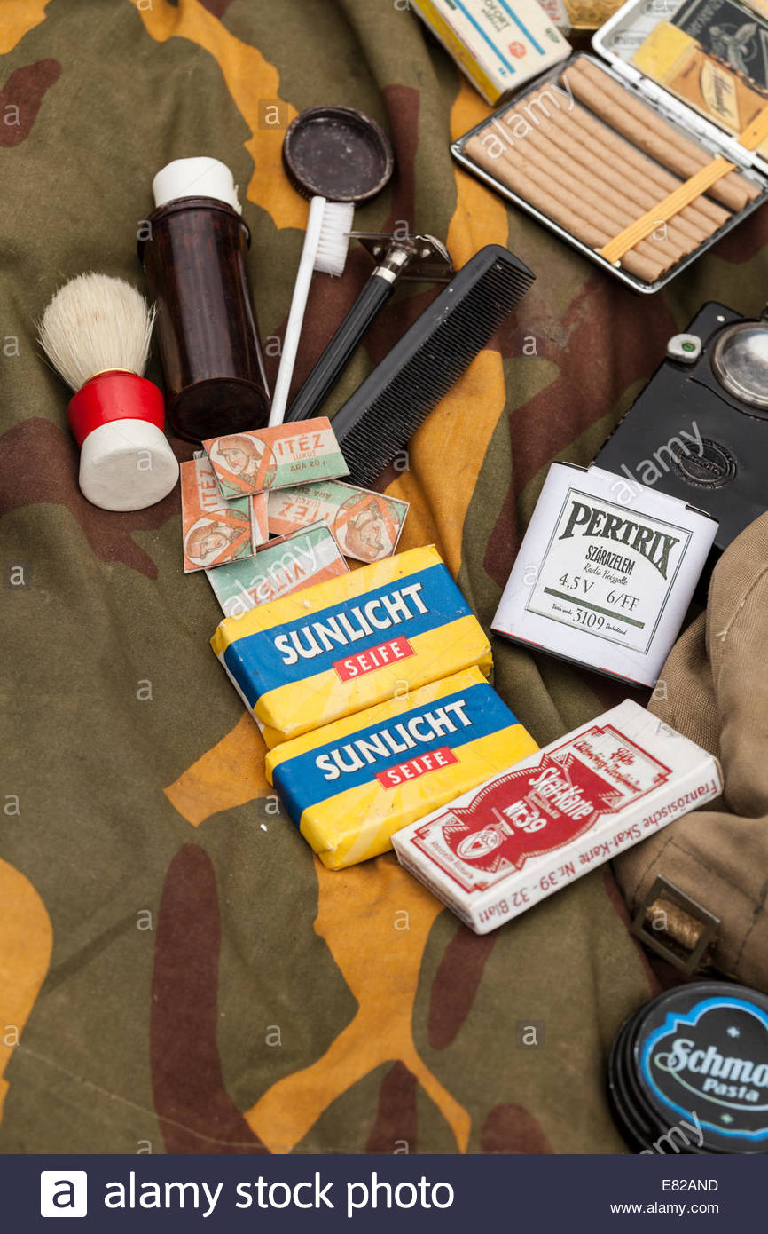 World War Two Re-enactment.  German personal kit and shaving items - Stock Image