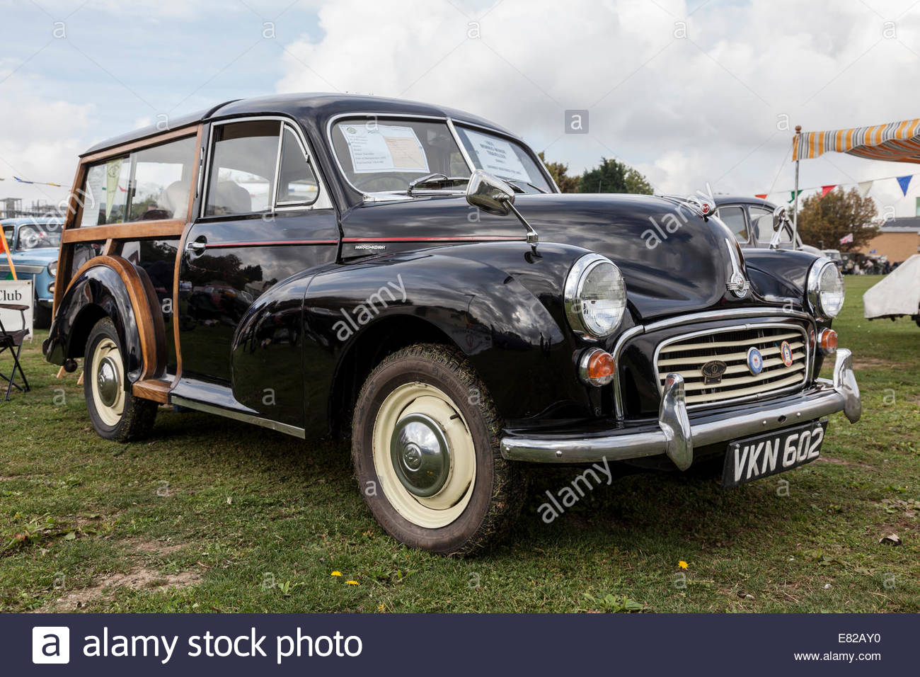 Morris Minor Traveller Series 1 1955 on show at a classic car event - Stock Image