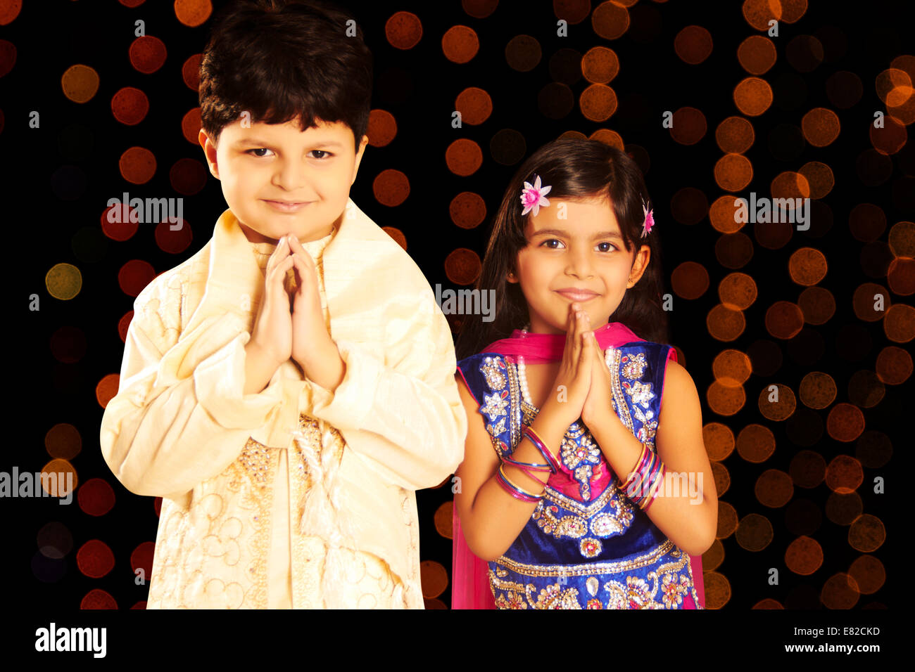 indian child diwali Festival welcome - Stock Image