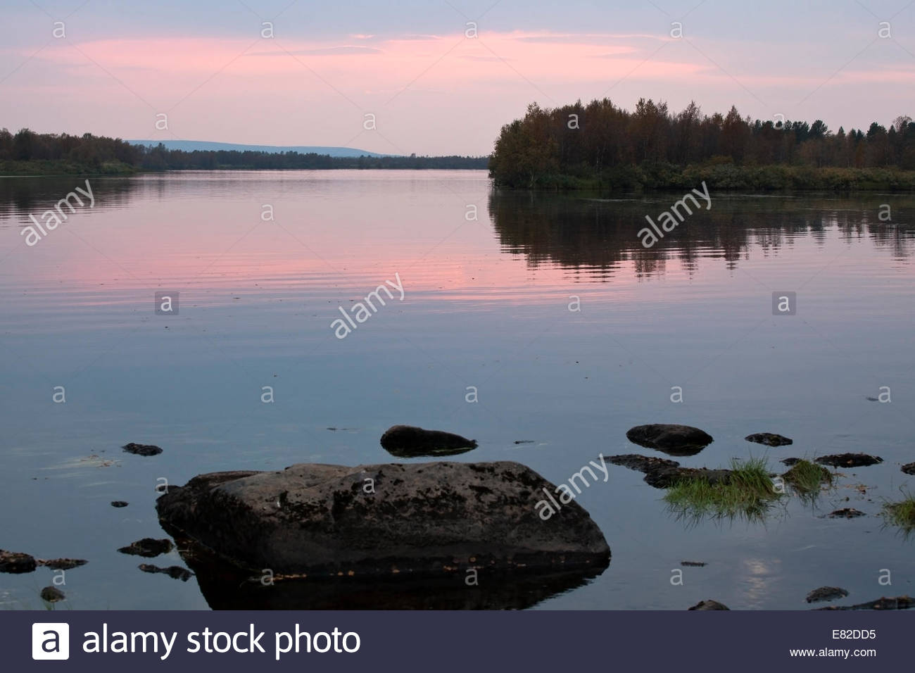 Beautiful sunset at Lapland Finland - Stock Image