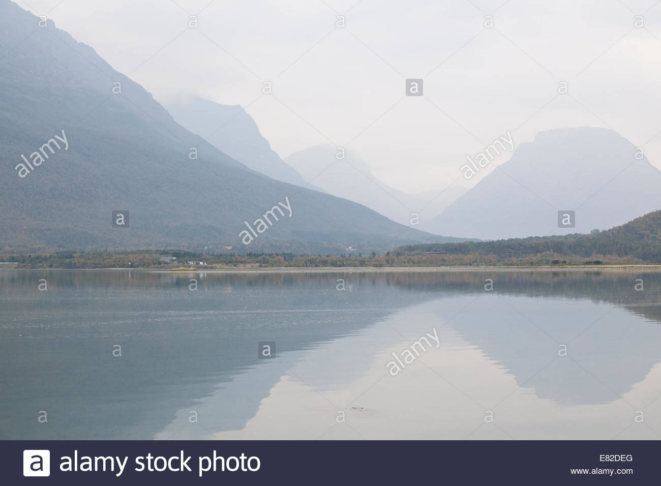Calm fjord in Northern Norway - Stock Image