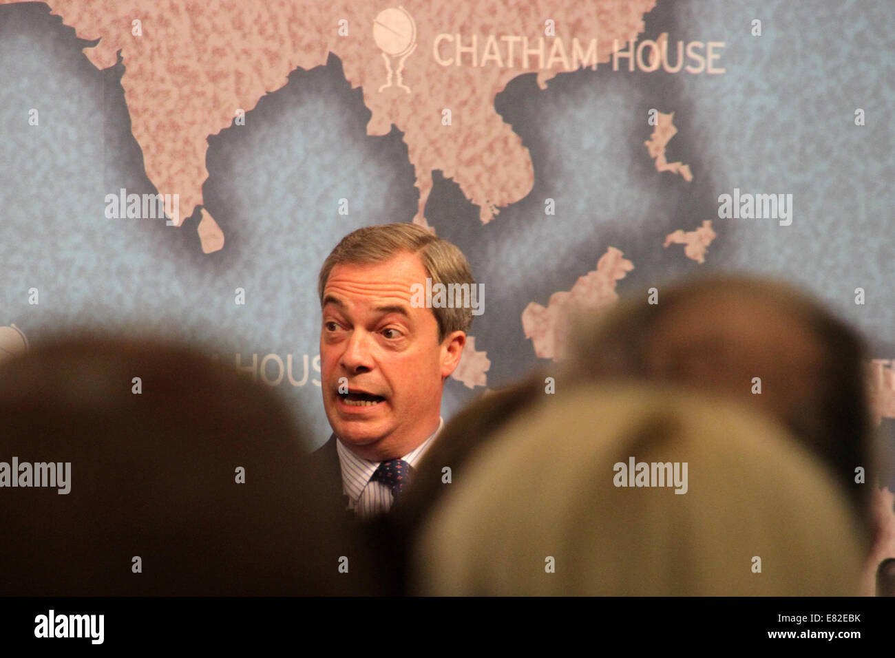 Nigel Farage, leader of the UK Independence Party, speaking at Chatham House in London on Monday 31 March 2014. - Stock Image