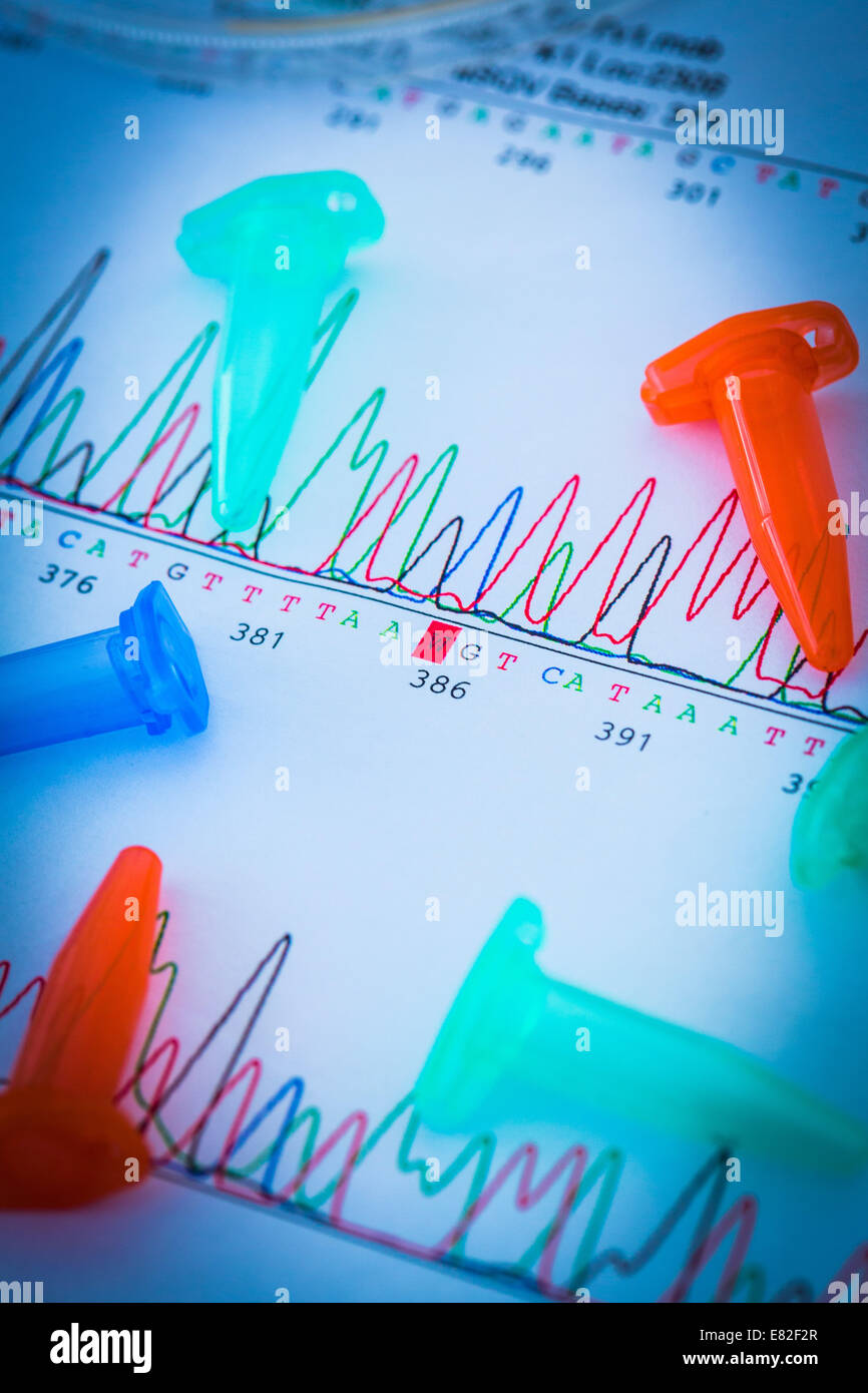 Eppendorf tubes on graphs showing the results of DNA (deoxyribonucleic acid) sequencing. - Stock Image