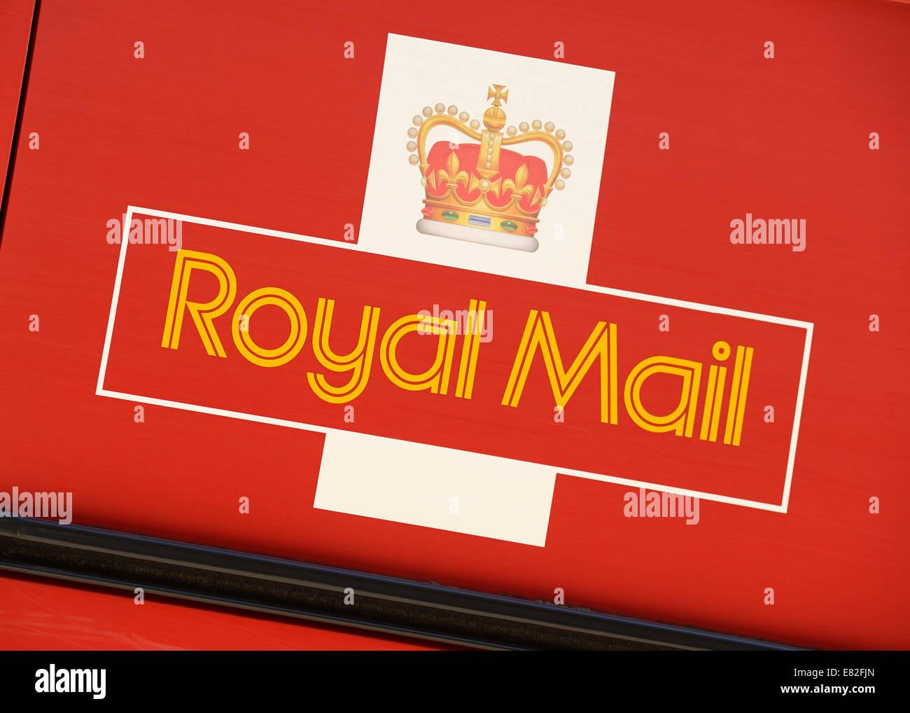 Royal Mail Logo on the Side of a Postal Van. UK. - Stock Image