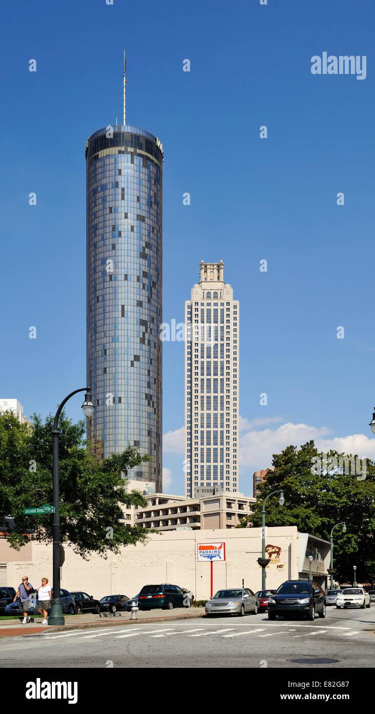 USA, Georgia, Atlanta, Westin Peachtree Plaza and 191 Peachtree Tower - Stock Image