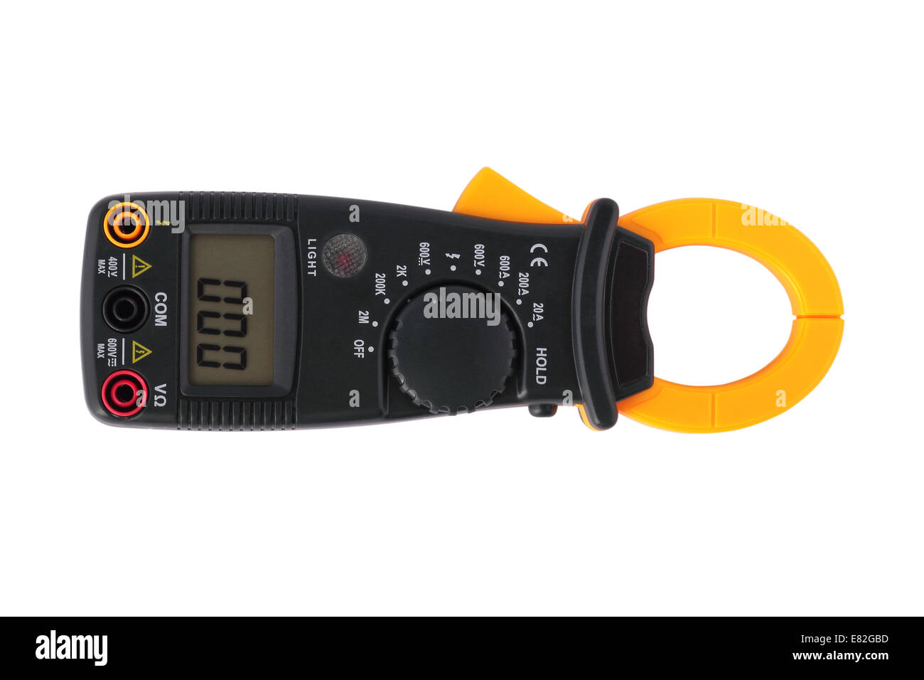 Digital clamp multimeter on a white background. It is isolated, the worker of paths is present. - Stock Image